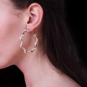 Faux Pearl Spiral Hoops